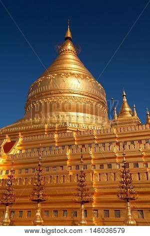 Shwezigon Pagoda in Bagan Myanmar (former Burma) at sunrise.