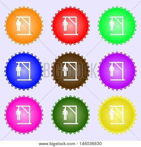 Suicide Concept Icon Sign. Big Set Of Colorful, Diverse, High-quality Buttons. Vector