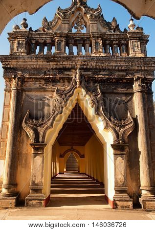 Detail of Ananda Temple in Bagan Myanmar - close up in daylight
