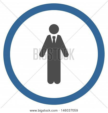 Clerk vector bicolor rounded icon. Image style is a flat icon symbol inside a circle, cobalt and gray colors, white background.