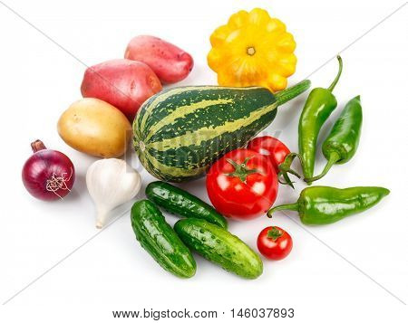 Still life of fresh vegetables healthy eating. Isolated on white background
