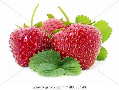 Three red strawberries isolated on white background