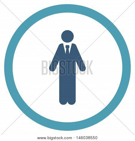 Clerk vector bicolor rounded icon. Image style is a flat icon symbol inside a circle, cyan and blue colors, white background.