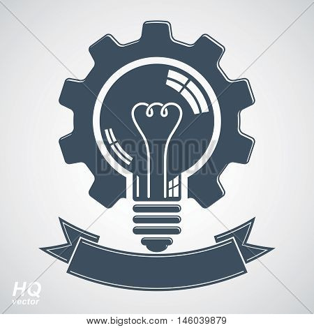 Vector light bulb with a cog wheel. Best business idea award icon manufacturing innovation symbol with curvy decorative ribbon.