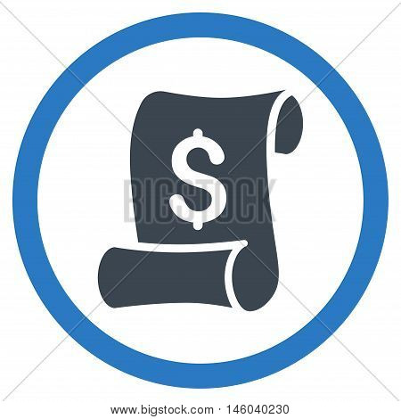 Financial Receipt Roll vector bicolor rounded icon. Image style is a flat icon symbol inside a circle, smooth blue colors, white background.