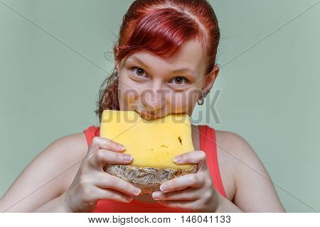 Girl Eating Cheddar Cheese