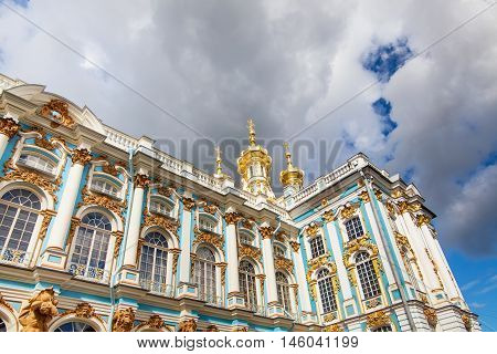 Catherine Palace located in Pushkin, Saint Petersburg. The building of Queen Catherine's Palace on sunny day. Russian royal tourist attractions.