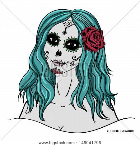 Sugar skull makeup. Sugar skull woman. Day of the Dead skull. Vector Day of the Dead illustration.