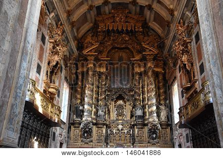 PORTO, PORTUGAL - AUG 22: Inside of the Porto Cathedral in Portugal, as seen on Aug 22, 2016. It is one of the citys oldest monuments and one of the most important Romanesque monuments in Portugal.