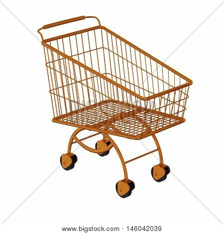 Golden shopping cart. Isolated on a white