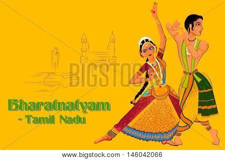 Vector design of Couple performing Bharatanatyam classical dance of Tamil Nadu, India