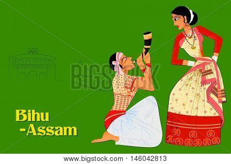 Vector design of Couple performing Bihu folk dance of Assam, India