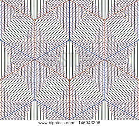 Colored abstract interweave geometric seamless pattern. Graphic contemporary covering.