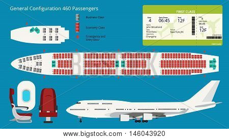 Airbus or Aircraft seat map scheme vector