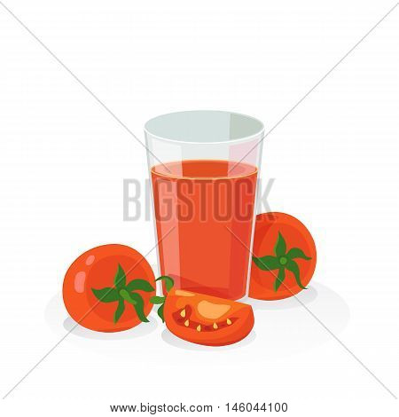 A glass of tomato juice and fresh tomato on white background.