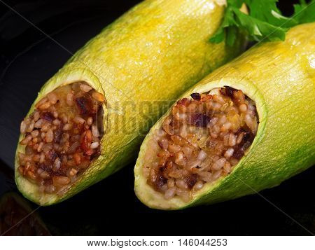 Stuffed zucchini with rice and spices typical Turkish recipe