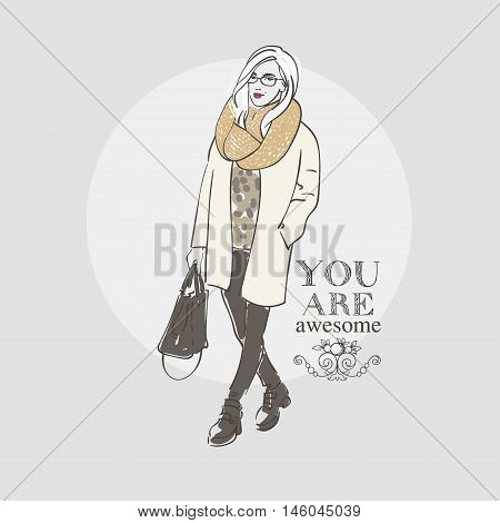 Beautiful Hipster Young Women In A Fashion White Jacket And Glasses With Bag And Knitted Scaf. Hand