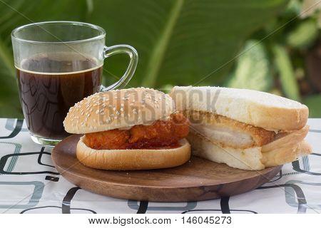 Spicy Chicken Burger tongkatsu sandwich and black coffee