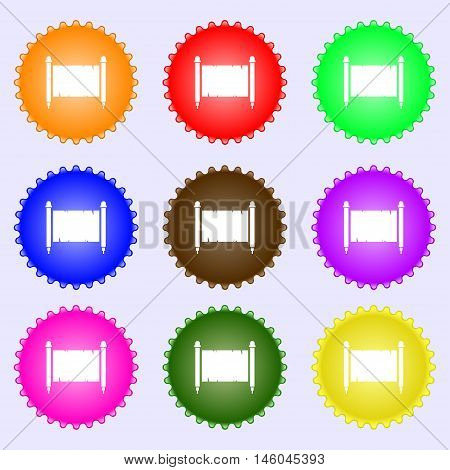 Ancient Parchment Sheet Of Paper Sign. Big Set Of Colorful, Diverse, High-quality Buttons. Vector