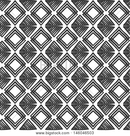 Designs For Fabric And Printing.black And White Tribal Slavic Folks Vector Seamless Pattern. Geometr