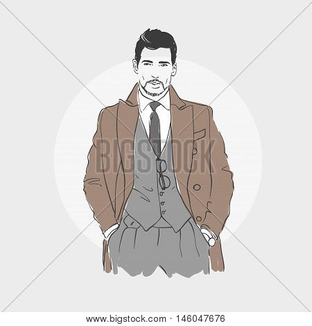 Attractive Man In Fashionable Clothes Hand Draw Vector Illustration.