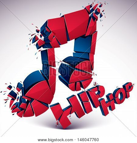 Red 3d vector musical note broken into pieces explosion effect. Dimensional art melody symbol hip hop music theme