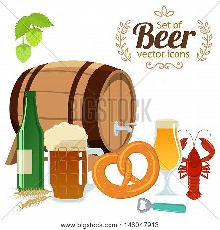Set of beer glasses bottle and snacks. Vector stock illustration.