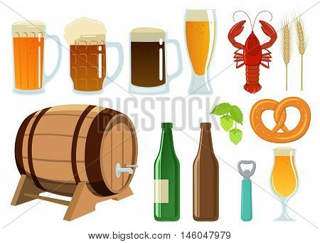 Set of beer glasses bottle and snack icons. Vector stock illustration.