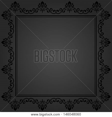 Classic dark vector square frame with arabesques and orient elements. Abstract fine ornament with place for text