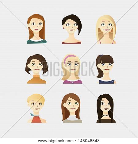 Cute Vector Illustrations Set Of Beautiful Young Girls With Different Hairstyle, Make Up And Dresses