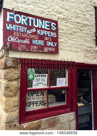 WHITBY ENGLAND - SEPTEMBER 3RD: 'Fortunes Whitby Cured Kippers' shop. In Whitby North Yorkshire England. On 3rd September 2016.