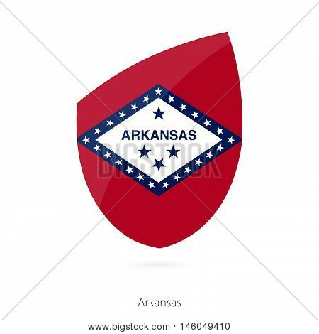 Flag of Arkansas in the style of Rugby icon. Vector Illustration.