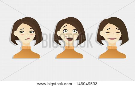 Cute Vector Illustrations Set Of Beautiful Young Brunette Shot Hair Girl With Various Emotion.