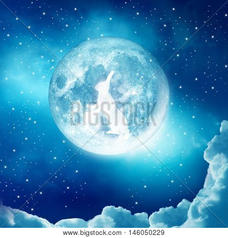Chinese mid-autumn festival background with rabbit, moon and clouds. Elements of this image furnished by NASA