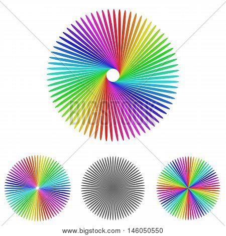 Multicolored floral logo symbol design template set for floral, garden, nature, ecology, organic concepts.