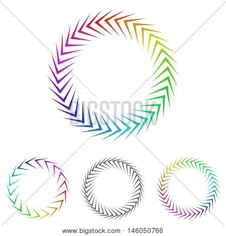 Round colorful cycle logo vector. Cycle icon symbol design template set for recycling, process, loop concepts.