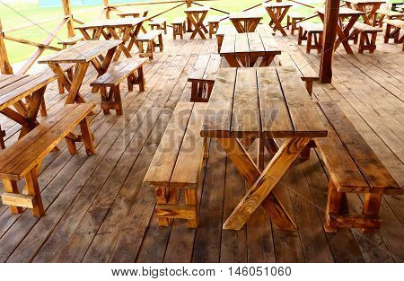 peasant wooden country style outdoor cafe summer photo