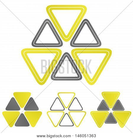 Nuclear triangle logo vector. Nuclear icon symbol design template set for biohazard, chemical, radioactive, power concepts.