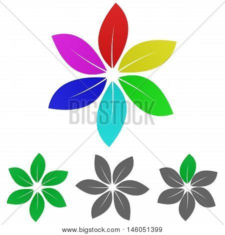 Colorful organic logo vector. Organic icon symbol design template set for leaf, eco, nature, life, garden concepts.