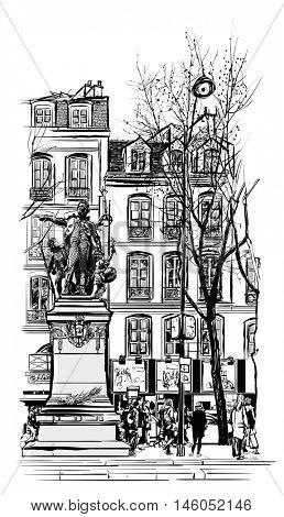Paris, Odeon Saint-germain-des-Pres district - vector illustration