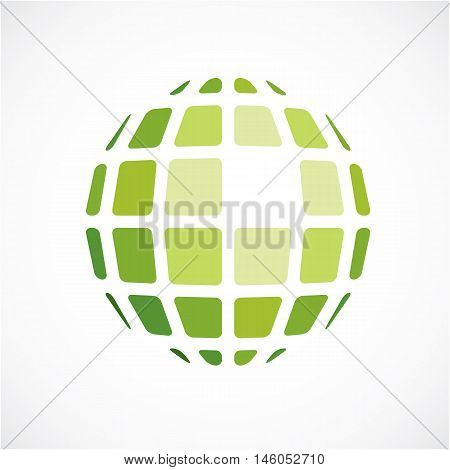 3D Vector Digital Spherical Object Made Using Square Facets. Low Poly Shape, Green Polygonal Globe,