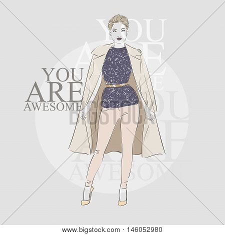 Beautiful Hipster Young Blonde Asian Short Hair Women In A Fashion Jacket . Vector Illustration.
