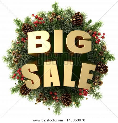 Big sale words with christmas wreath isolated on white 3D illustration