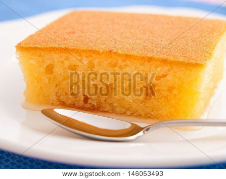Sponge cake with sugar syrup. Vertical shot