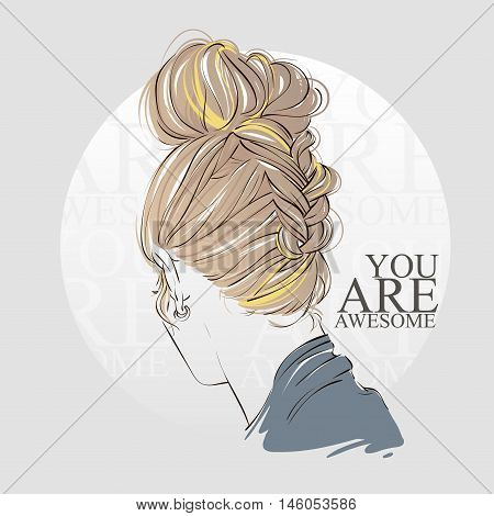 Beautiful Woman With Braid Hair Style. Hand Drawn Vector Line Illustration.