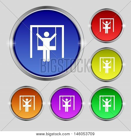 Child Swinging Icon Sign. Round Symbol On Bright Colourful Buttons. Vector
