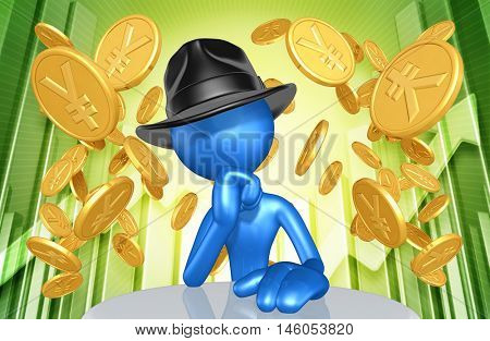 Business Man Character Wearing A Fedora With Gold Coins And Market Report Behind 3D Illustration