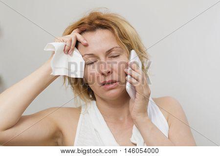Woman in allergy season
