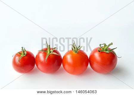 Very fresh tomatoes on white background for healthy food collection organic vegetables