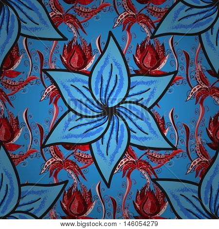 Summer seamless natural background with blue and red flowers . Vector.